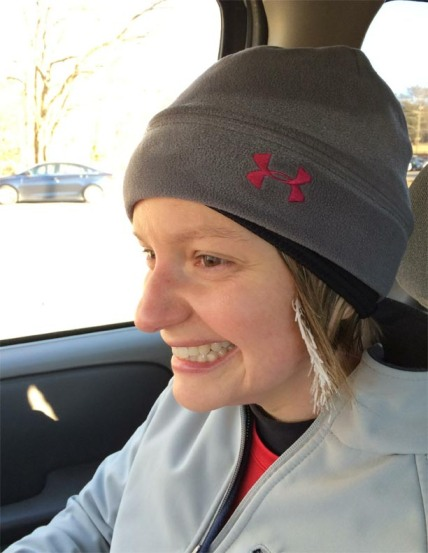 No those aren't highlights. My friend Abby's hair recently froze on long run.