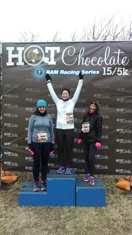 "Shannon. me and Abby ""winning"" the Hot Chocolate 15 K"