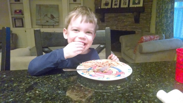 "My kids insisted since we had ""breakfast for dinner"" we should have ""spaghetti for breakfast"""