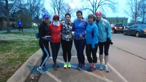 Christina, Abby, me, Shannon, Andrea and Deanna ready to run 20 freaking miles