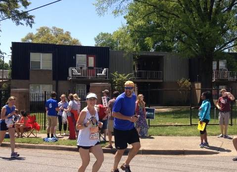 Christina's husband ran the  last mile with her