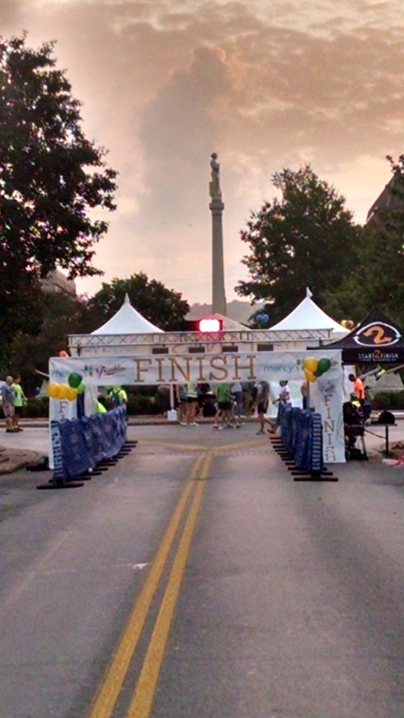 Running down Main street, into the historic square is a great way to finish the race.