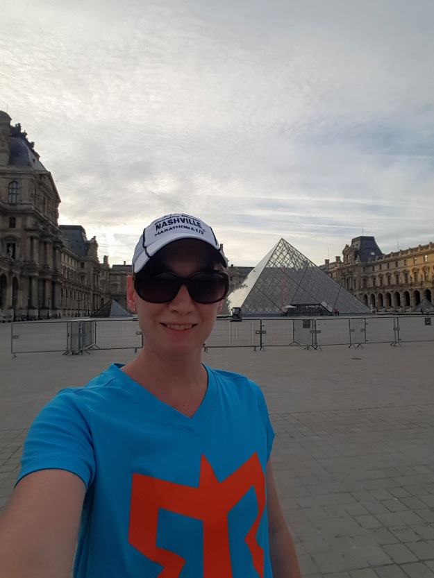 Birthday run around the court yard of the Louvre