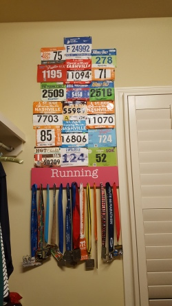 "Added my medal to my ""wall of glory"" in my closet"